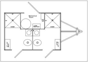 2 Station Restroom and Shower Trailer Combo Floor Plan