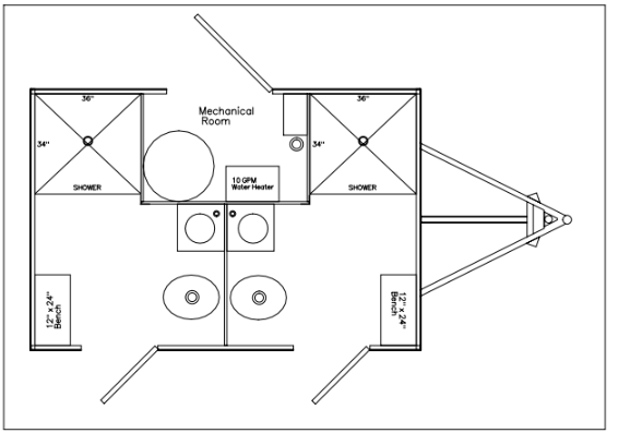 2 Station Restroom and Shower Trailer Combo Floor Plan