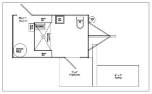 ADA Shower and Restroom Combo Trailer Floor Plan